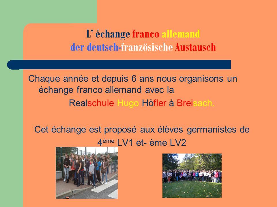 L échange franco allemand der deutsch-französische Austausch Chaque année et depuis 6 ans nous organisons un échange franco allemand avec la Realschul