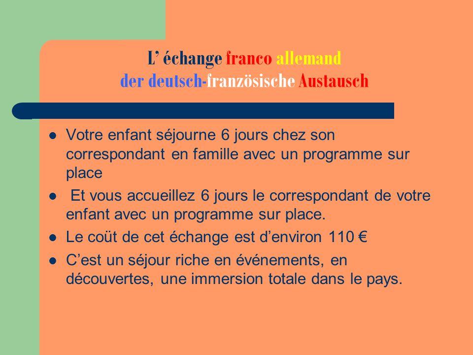L échange franco allemand der deutsch-französische Austausch Votre enfant séjourne 6 jours chez son correspondant en famille avec un programme sur pla