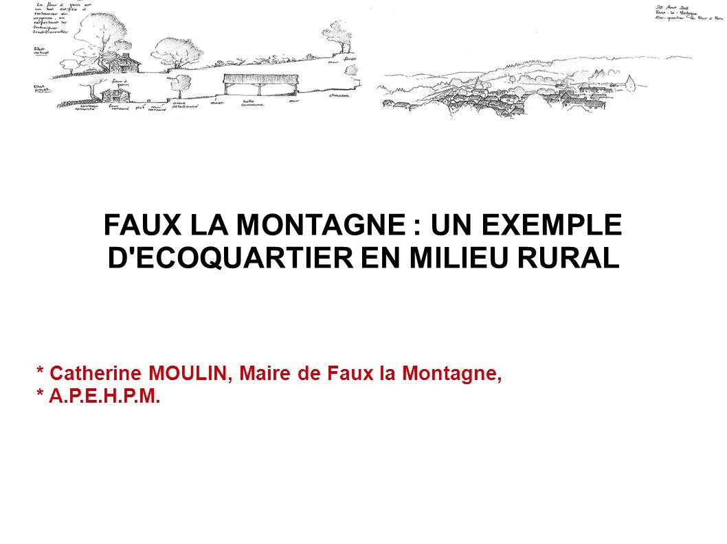 FAUX LA MONTAGNE : UN EXEMPLE D'ECOQUARTIER EN MILIEU RURAL * Catherine MOULIN, Maire de Faux la Montagne, * A.P.E.H.P.M.