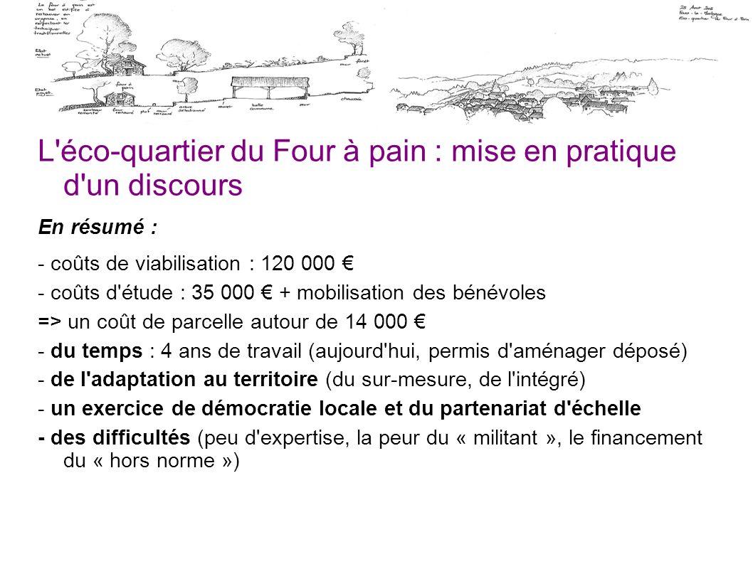 L'éco-quartier du Four à pain : mise en pratique d'un discours En résumé : - coûts de viabilisation : 120 000 - coûts d'étude : 35 000 + mobilisation