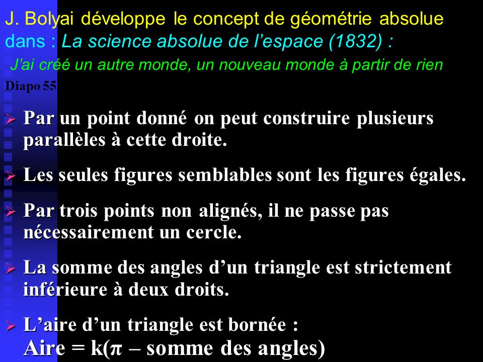 Peut-on développer une théorie géométrique déductive sans le [PP] ? Lobatchevskij (1829) : Théorie des parallèles Toutes les droites tracées par un mê