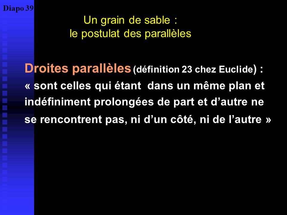 Un grain de sable : le postulat des parallèles Droites parallèles (définition 23 chez Euclide ) : « sont celles qui étant dans un même plan et indéfiniment prolongées de part et dautre ne se rencontrent pas, ni dun côté, ni de lautre » Diapo 39