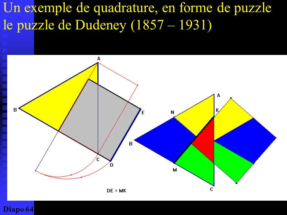 La quadrature chez les Grecs La figure emblématique du concept grec de quadrature pourrait être celle représentée ci- contre : laire limitée par la lu