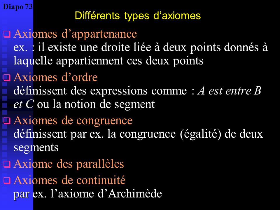 Définition axiomatique moderne Hilbert (1862 – 1943) : Les fondements de la géométrie (1899) Nous pensons trois systèmes différents de choses : nous n