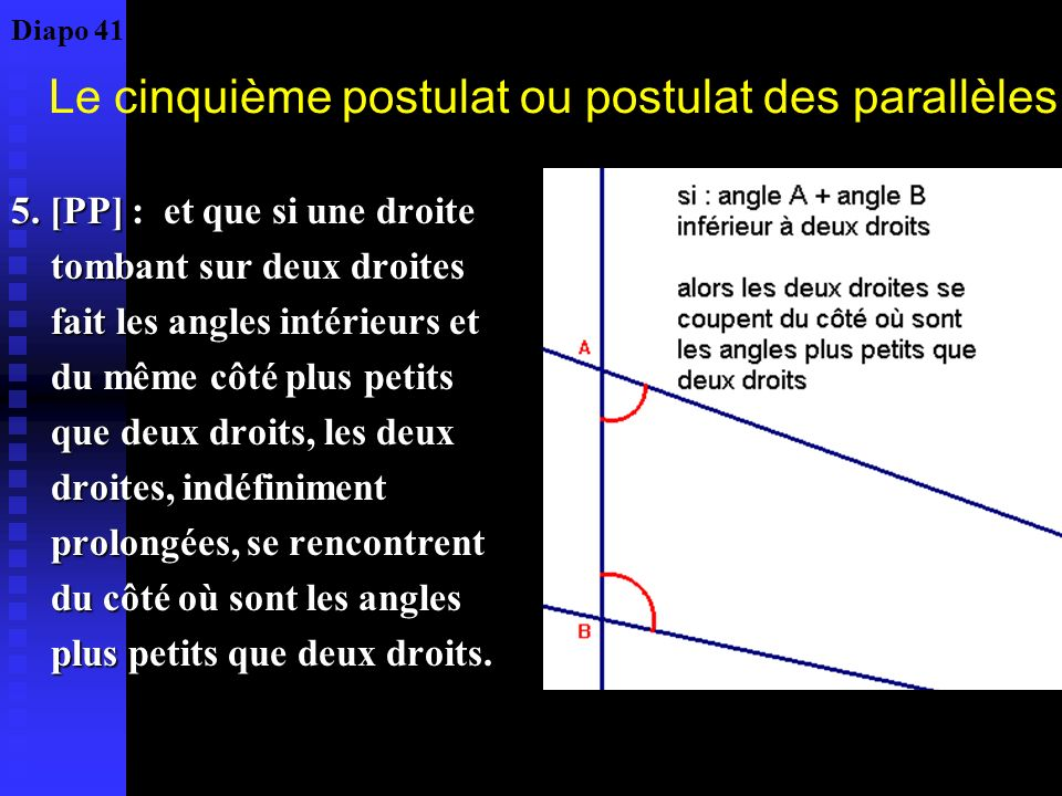 Deux types de développement Géométrie euclidienne Les axiomes sont le terme final du développement historique Les théorèmes se sont constitués avant leur organisation logique, par lexpérience lobservation, en accord avec lintuition sensible La géométrie est un abstrait par rapport à lintuitif Géométrie non euclidienne Ce sont les axiomes (et surtout le [PP]) qui sont au départ du développement historique Le commencement historique coïncide avec le début logique.
