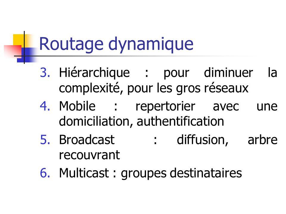 Routage dynamique 3.Hiérarchique : pour diminuer la complexité, pour les gros réseaux 4.Mobile : repertorier avec une domiciliation, authentification