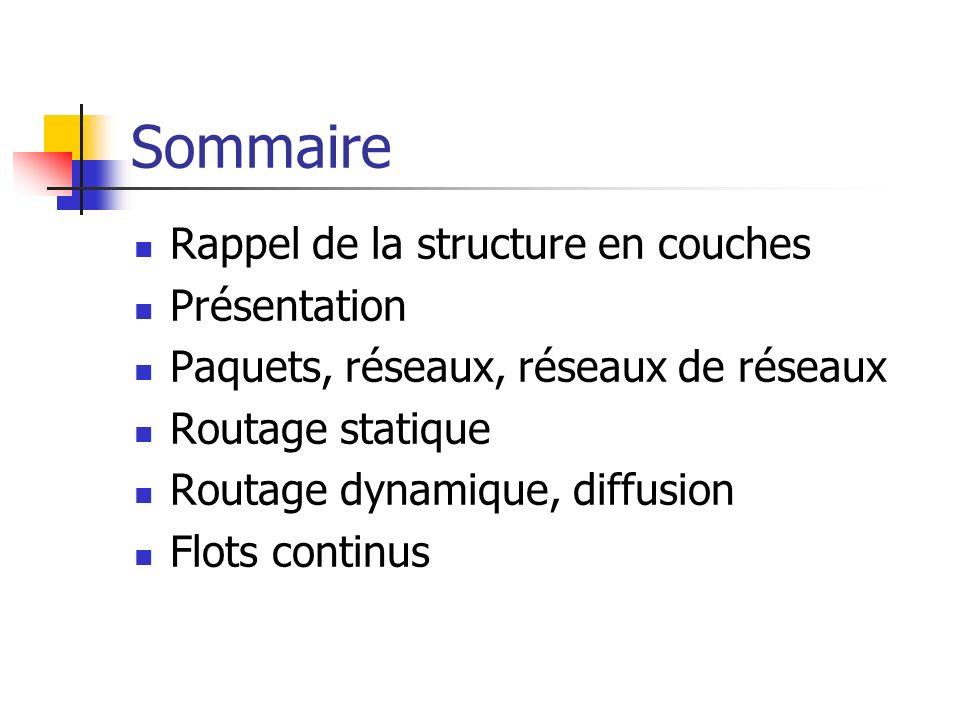 Sommaire Rappel de la structure en couches Présentation Paquets, réseaux, réseaux de réseaux Routage statique Routage dynamique, diffusion Flots conti
