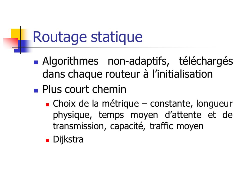 Routage statique Algorithmes non-adaptifs, téléchargés dans chaque routeur à linitialisation Plus court chemin Choix de la métrique – constante, longu