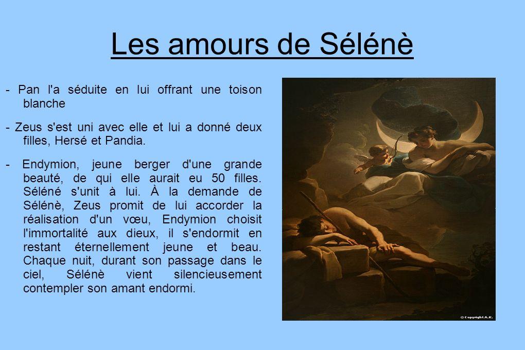 Les amours de Sélénè - Pan l'a séduite en lui offrant une toison blanche - Zeus s'est uni avec elle et lui a donné deux filles, Hersé et Pandia. - End