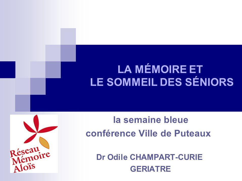 LA MÉMOIRE ET LE SOMMEIL DES SÉNIORS la semaine bleue conférence Ville de Puteaux Dr Odile CHAMPART-CURIE GERIATRE