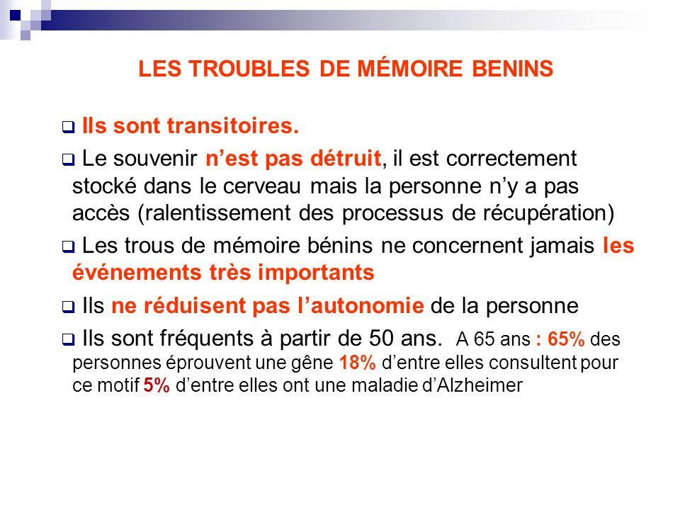 LES TROUBLES DE MÉMOIRE BENINS Ils sont transitoires. Le souvenir nest pas détruit, il est correctement stocké dans le cerveau mais la personne ny a p