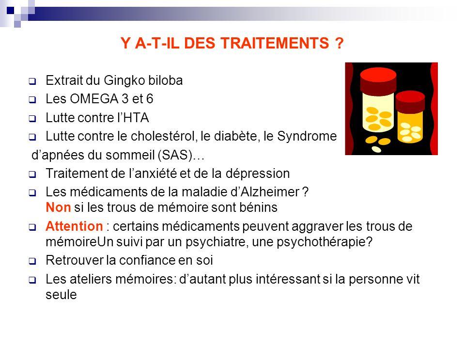 Y A-T-IL DES TRAITEMENTS ? Extrait du Gingko biloba Les OMEGA 3 et 6 Lutte contre lHTA Lutte contre le cholestérol, le diabète, le Syndrome dapnées du