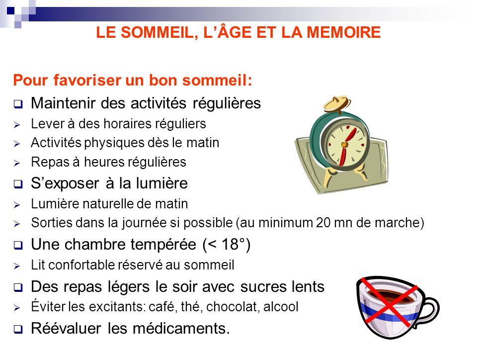 LE SOMMEIL, LÂGE ET LA MEMOIRE Pour favoriser un bon sommeil: Maintenir des activités régulières Lever à des horaires réguliers Activités physiques dè
