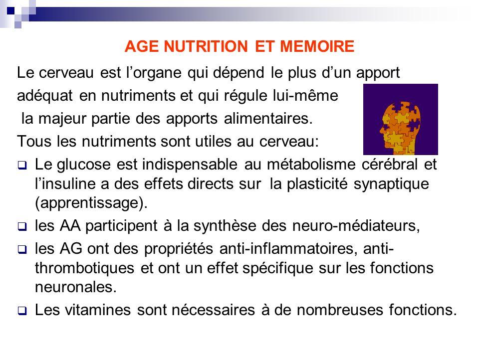 AGE NUTRITION ET MEMOIRE Le cerveau est lorgane qui dépend le plus dun apport adéquat en nutriments et qui régule lui-même la majeur partie des apport
