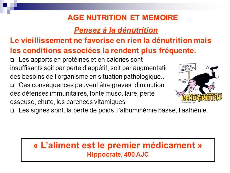 AGE NUTRITION ET MEMOIRE Pensez à la dénutrition Le vieillissement ne favorise en rien la dénutrition mais les conditions associées la rendent plus fr