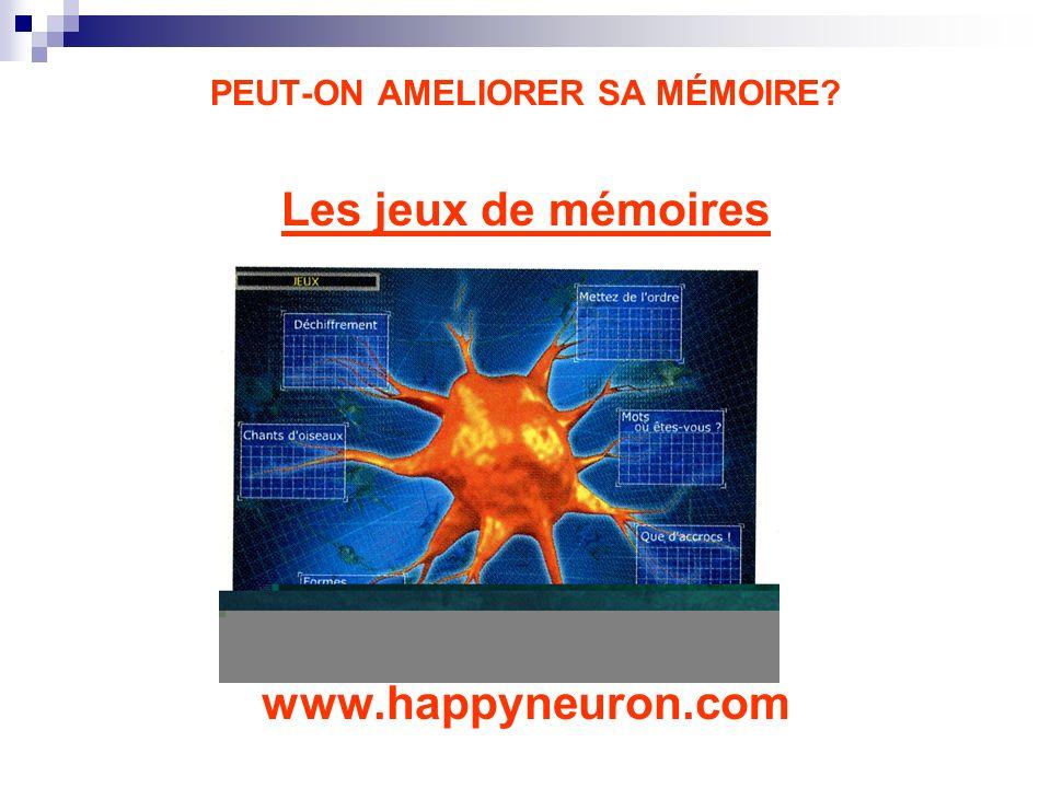 PEUT-ON AMELIORER SA MÉMOIRE? Les jeux de mémoires www.happyneuron.com
