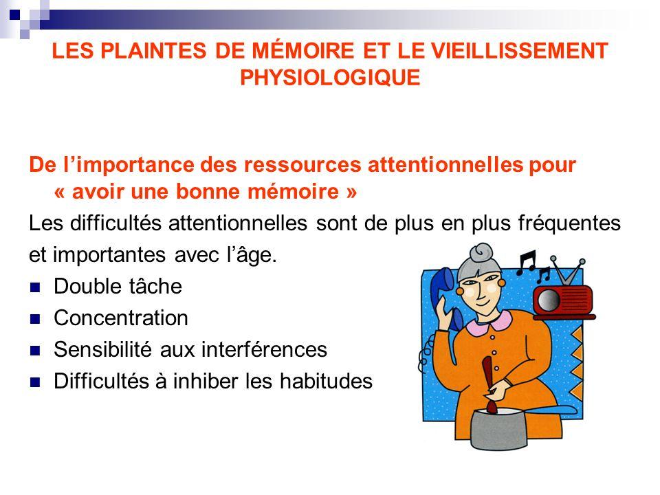 LES PLAINTES DE MÉMOIRE ET LE VIEILLISSEMENT PHYSIOLOGIQUE De limportance des ressources attentionnelles pour « avoir une bonne mémoire » Les difficul