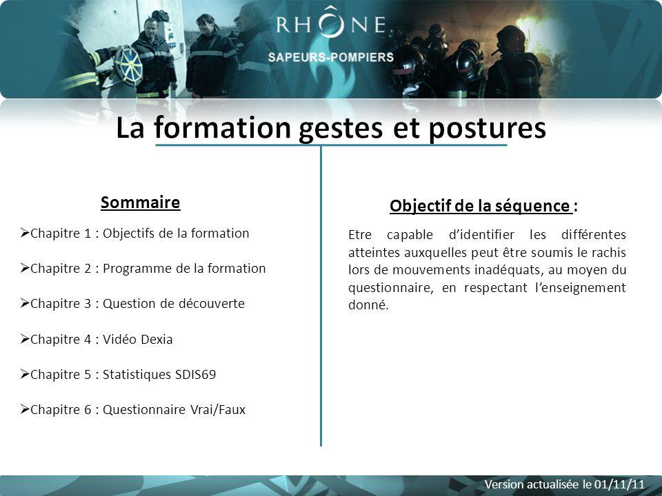 Sommaire Version actualisée le 01/11/11 Chapitre 1 : Objectifs de la formation Chapitre 2 : Programme de la formation Chapitre 3 : Question de découve