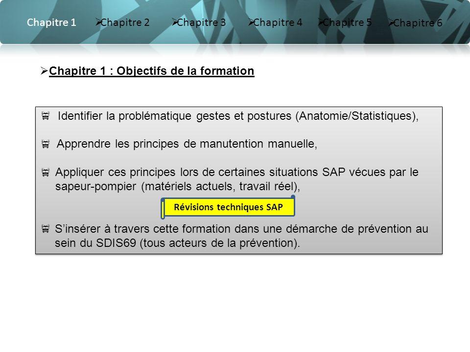 Révisions techniques SAP Identifier la problématique gestes et postures (Anatomie/Statistiques), Apprendre les principes de manutention manuelle, Appl