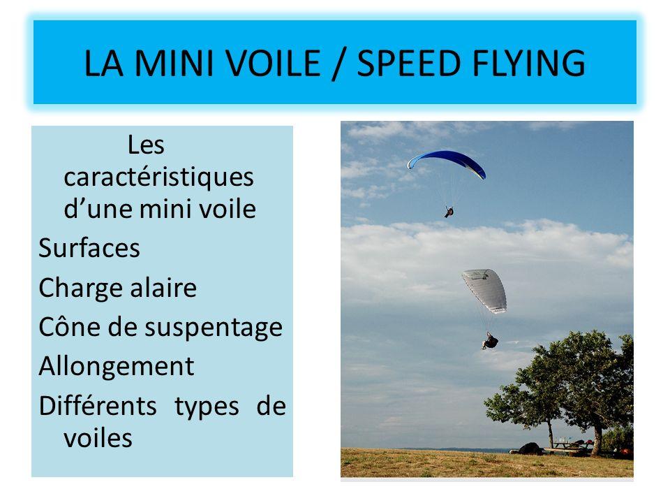 LA MINI VOILE / SPEED FLYING Les caractéristiques dune mini voile Surfaces Charge alaire Cône de suspentage Allongement Différents types de voiles