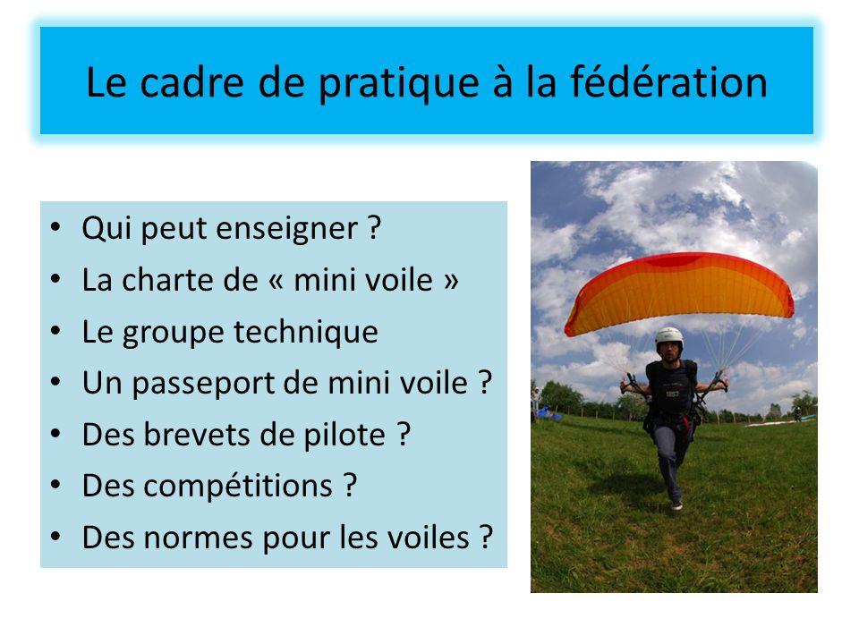 Le cadre de pratique à la fédération Qui peut enseigner ? La charte de « mini voile » Le groupe technique Un passeport de mini voile ? Des brevets de