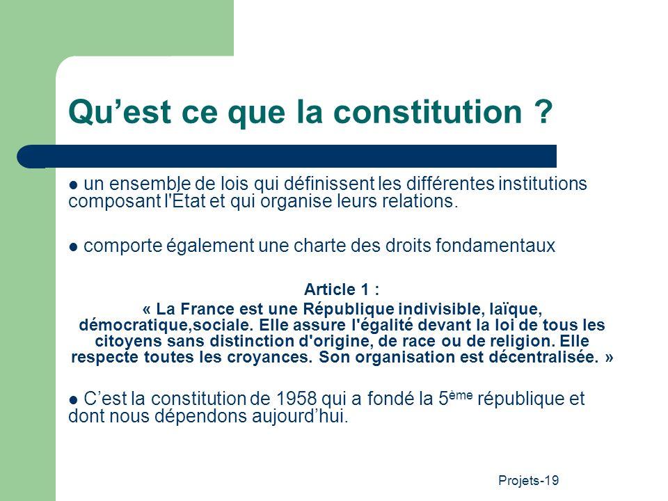 Projets-19 Quest ce que la constitution ? un ensemble de lois qui définissent les différentes institutions composant l'État et qui organise leurs rela