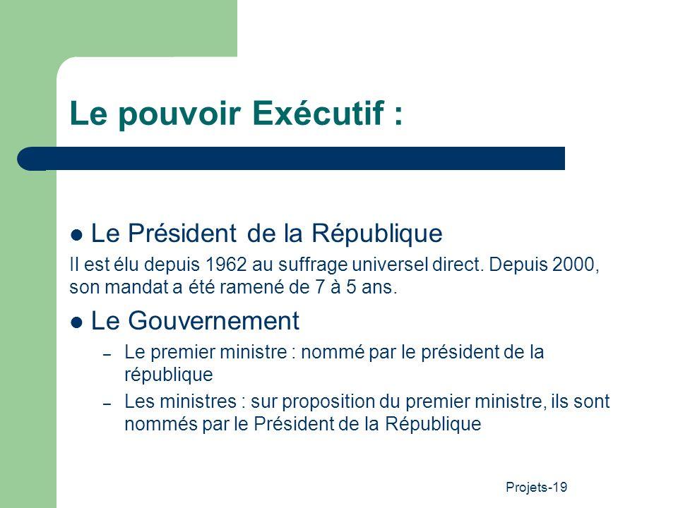 Projets-19 Le pouvoir Exécutif : Le Président de la République Il est élu depuis 1962 au suffrage universel direct. Depuis 2000, son mandat a été rame
