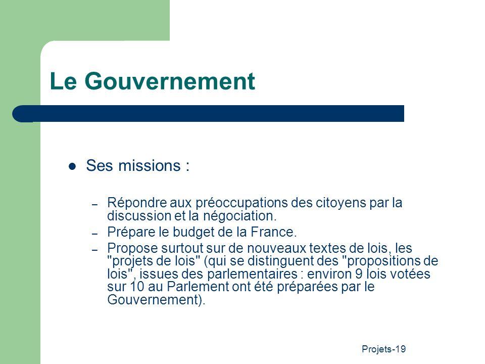 Projets-19 Le Gouvernement Ses missions : – Répondre aux préoccupations des citoyens par la discussion et la négociation. – Prépare le budget de la Fr