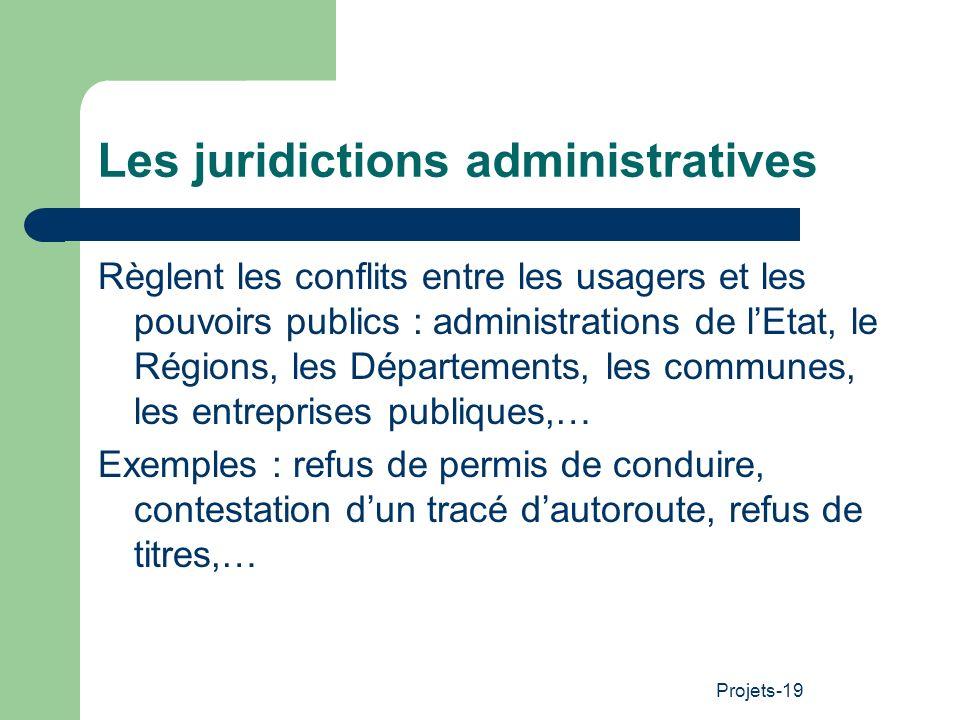 Projets-19 Les juridictions administratives Règlent les conflits entre les usagers et les pouvoirs publics : administrations de lEtat, le Régions, les