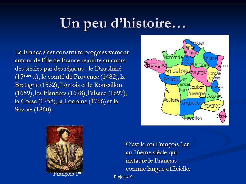 Projets-19 Un peu dhistoire… La France sest construite progressivement autour de lÎle de France rejointe au cours des siècles par des régions : le Dau