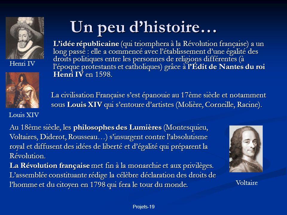 Projets-19 Un peu dhistoire… Issu de la révolution, Napoléon Bonaparte, devenu empereur des Français en 1804 a renforcé lÉtat, doté la France dInstitutions stables, promulgué le Code civil et établi une monnaie forte, le franc.