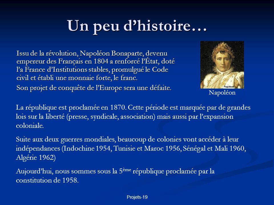 Projets-19 Un peu dhistoire… Issu de la révolution, Napoléon Bonaparte, devenu empereur des Français en 1804 a renforcé lÉtat, doté la France dInstitu