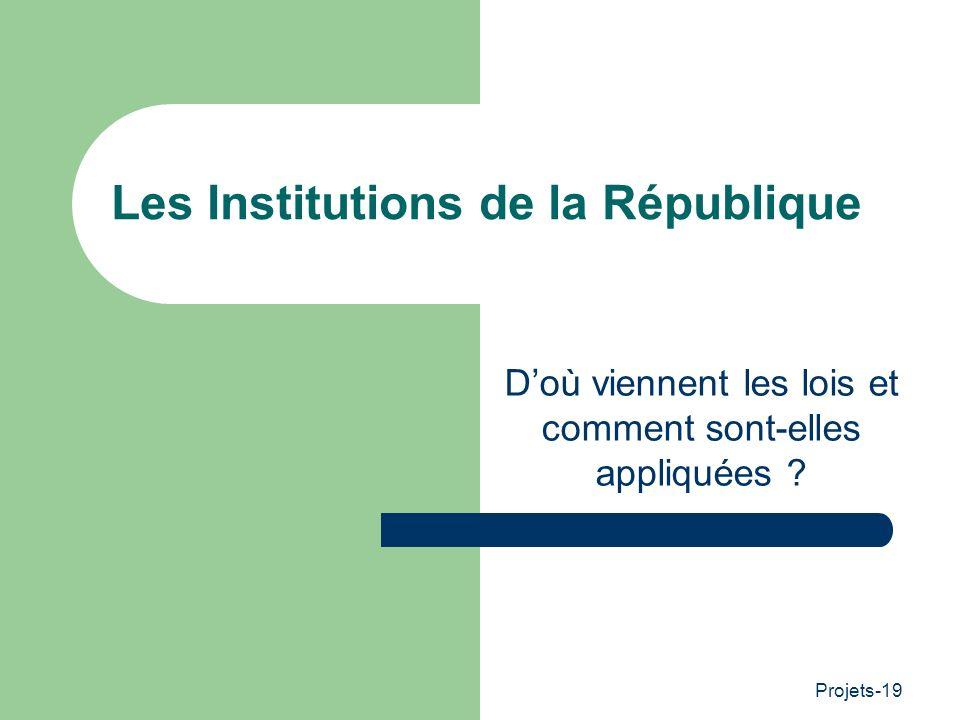 Projets-19 Les Institutions de la République Doù viennent les lois et comment sont-elles appliquées ?