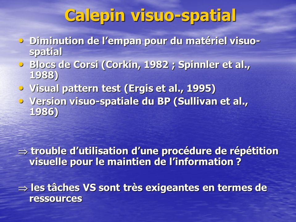 Calepin visuo-spatial Diminution de lempan pour du matériel visuo- spatial Diminution de lempan pour du matériel visuo- spatial Blocs de Corsi (Corkin
