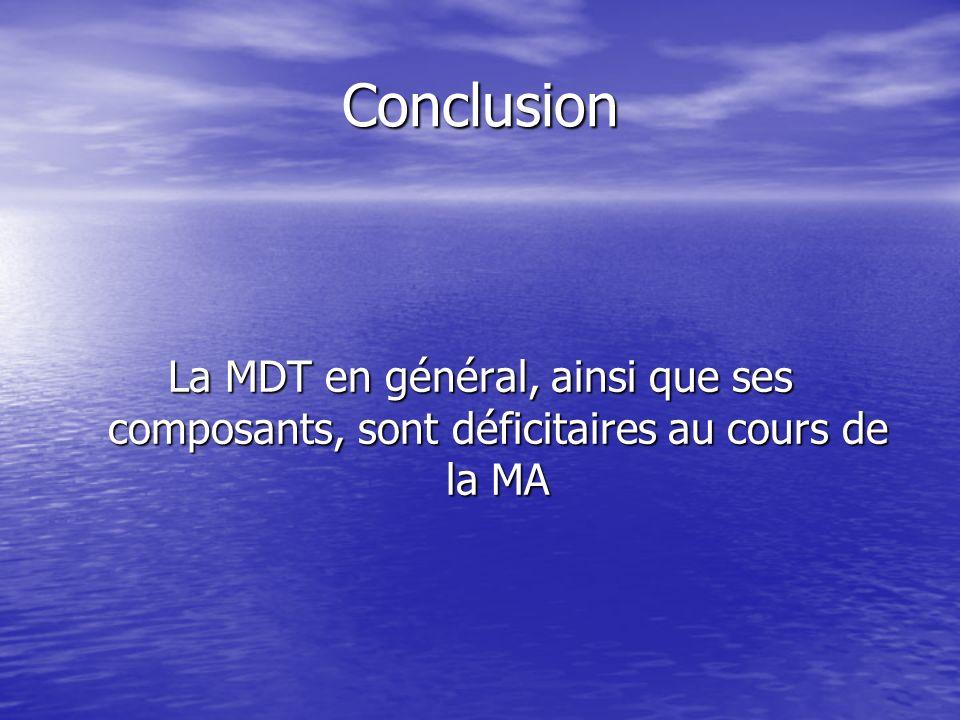 Conclusion La MDT en général, ainsi que ses composants, sont déficitaires au cours de la MA