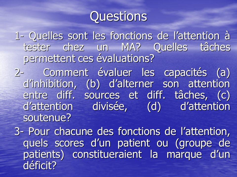 Questions 1- Quelles sont les fonctions de lattention à tester chez un MA? Quelles tâches permettent ces évaluations? 2- Comment évaluer les capacités