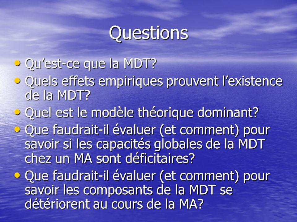 Questions Quest-ce que la MDT? Quest-ce que la MDT? Quels effets empiriques prouvent lexistence de la MDT? Quels effets empiriques prouvent lexistence