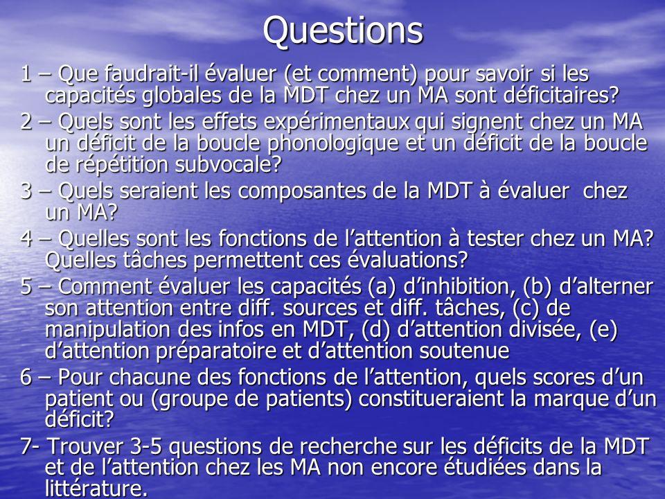 Questions 1 – Que faudrait-il évaluer (et comment) pour savoir si les capacités globales de la MDT chez un MA sont déficitaires? 2 – Quels sont les ef