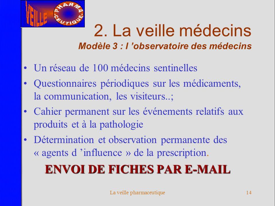 La veille pharmaceutique13 2. La veille médecins Modèle 2 : les médecins sentinelles Un réseau de 10 à 20 médecins sentinelles Collecte des documents