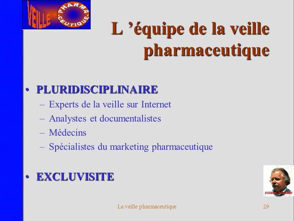La veille pharmaceutique28 Critères de réussite Tout le monde est concerné Automatique et manuelle Recherches créatives Applications immédiates