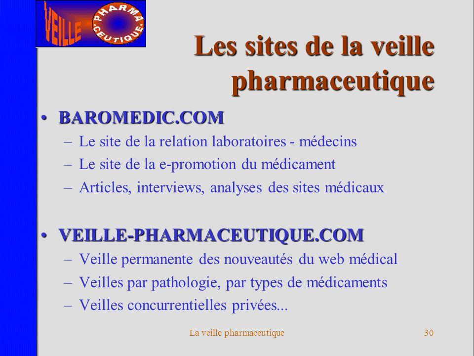 La veille pharmaceutique29 L équipe de la veille pharmaceutique PLURIDISCIPLINAIREPLURIDISCIPLINAIRE –Experts de la veille sur Internet –Analystes et