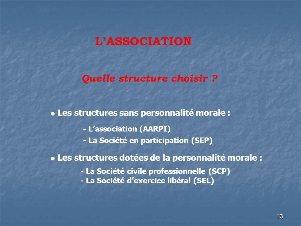 13 LASSOCIATION Quelle structure choisir ? Les structures sans personnalité morale : - Lassociation (AARPI) - La Société en participation (SEP) Les st