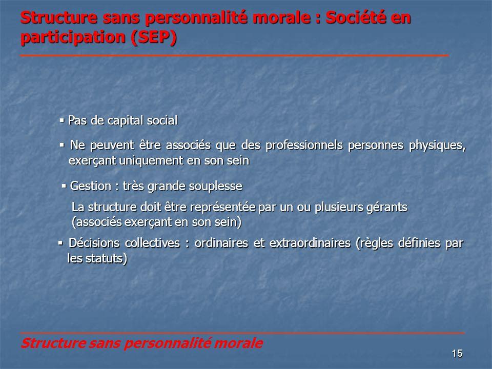15 Structure sans personnalité morale : Société en participation (SEP) Décisions collectives : ordinaires et extraordinaires (règles définies par les