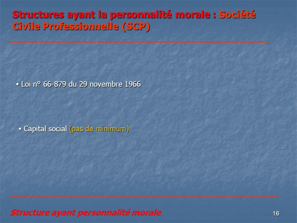 16 Structures ayant la personnalité morale : Société Civile Professionnelle (SCP) Loi n° 66-879 du 29 novembre 1966 Loi n° 66-879 du 29 novembre 1966
