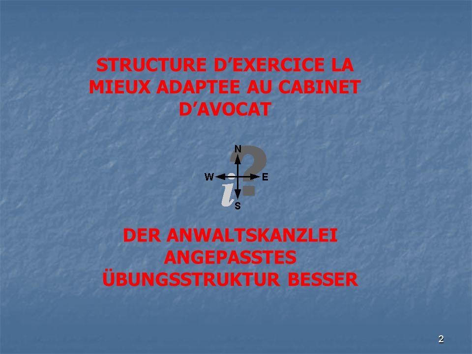 2 STRUCTURE DEXERCICE LA MIEUX ADAPTEE AU CABINET DAVOCAT DER ANWALTSKANZLEI ANGEPASSTES ÜBUNGSSTRUKTUR BESSER