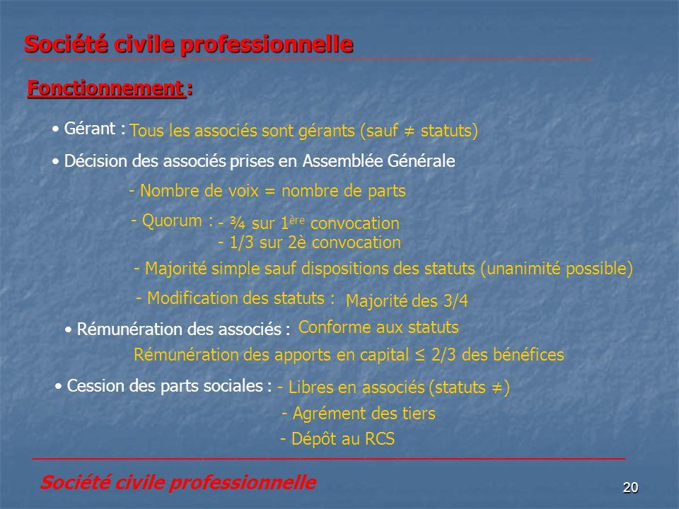 20 Société civile professionnelle Fonctionnement : Gérant : Tous les associés sont gérants (sauf statuts) Décision des associés prises en Assemblée Gé