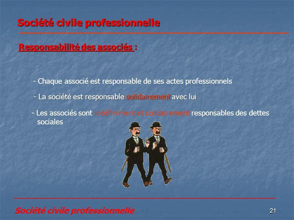 21 Société civile professionnelle - Les associés sont indéfiniment et solidairement responsables des dettes sociales Responsabilité des associés : - C