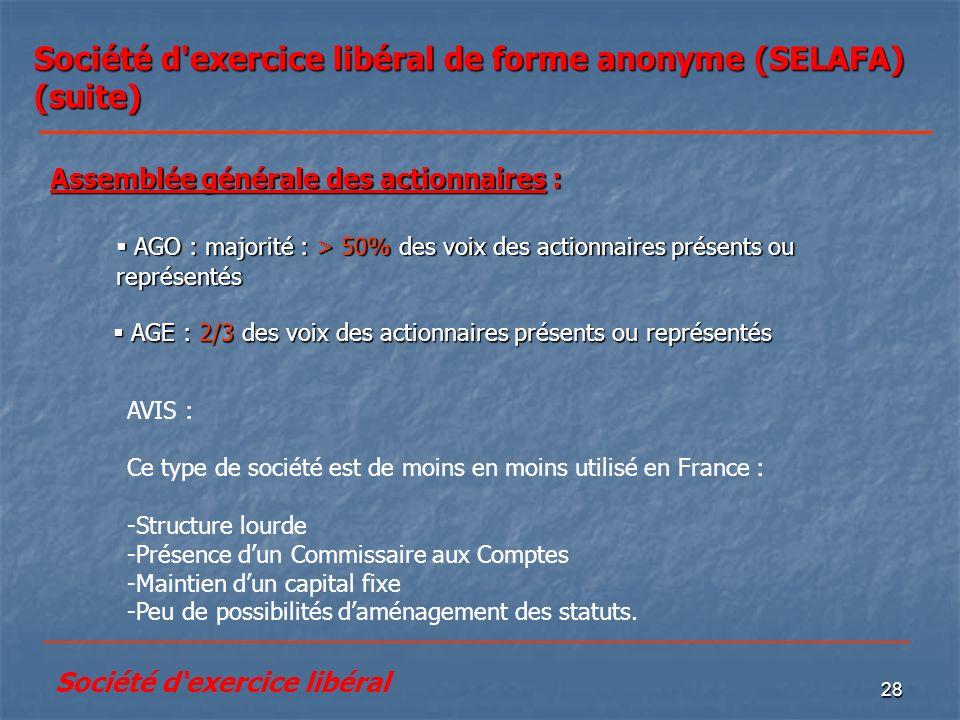28 Société d'exercice libéral de forme anonyme (SELAFA) (suite) AGE : 2/3 des voix des actionnaires présents ou représentés AGE : 2/3 des voix des act