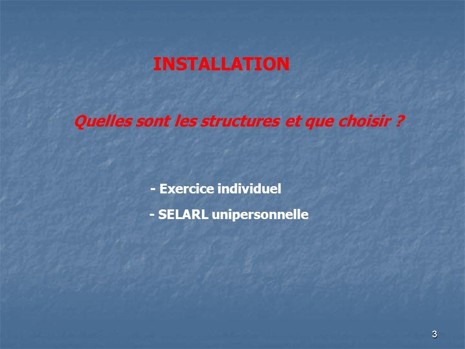 3 INSTALLATION Quelles sont les structures et que choisir ? - Exercice individuel - SELARL unipersonnelle