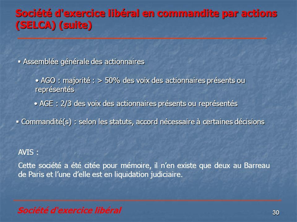 30 Société d'exercice libéral en commandite par actions (SELCA) (suite) Commandité(s) : selon les statuts, accord nécessaire à certaines décisions Com